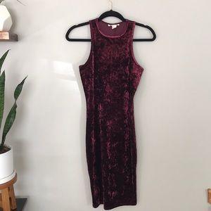 Forever 21 velvet wine red/maroon bodycon dress
